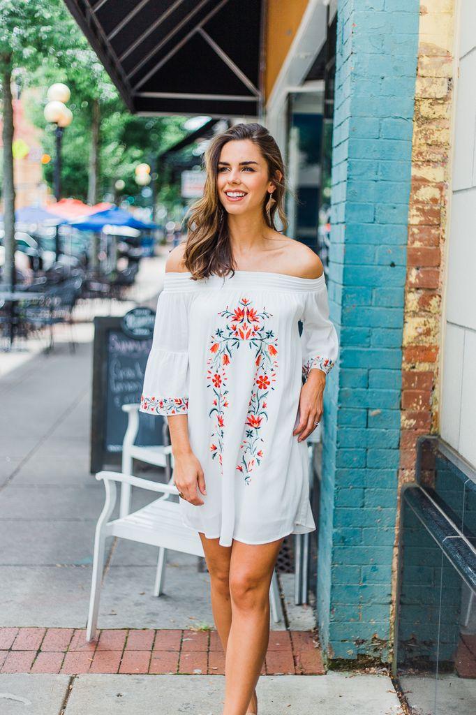 Taryn Floral Embroidered Off Shoulder Dress