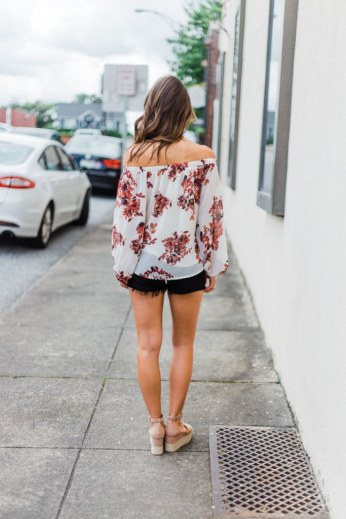 By Together Floral Print Off Shoulder Top