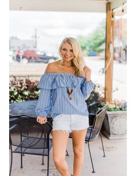 Karlie Stripe Washed Ruffle One Shoulder Top