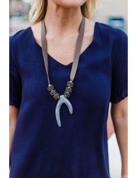 Wish Bone Pendant Leather Necklace