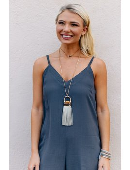 Leather Fringe Tassel with Bamboo Necklace