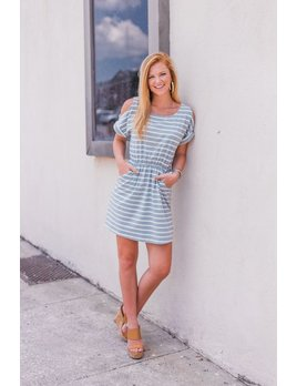 She & Sky Cold Shoulder Striped Dress