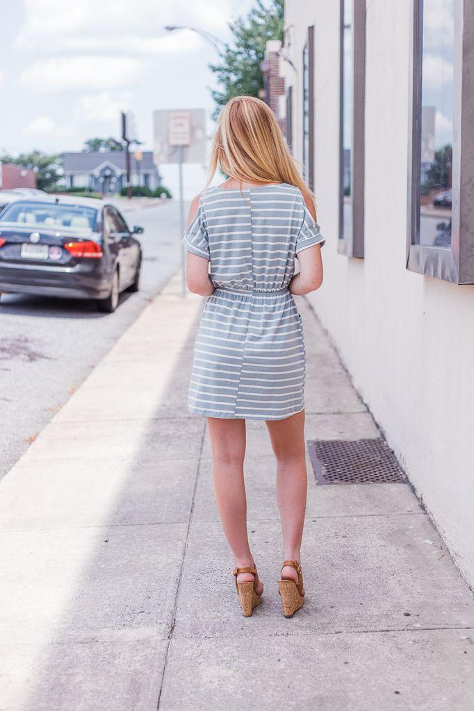 She & Sky Cold Shoulder Striped Dress