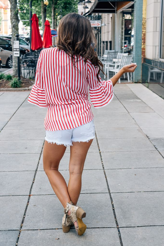 She & Sky Bell Sleeve Striped Top with Front Twist