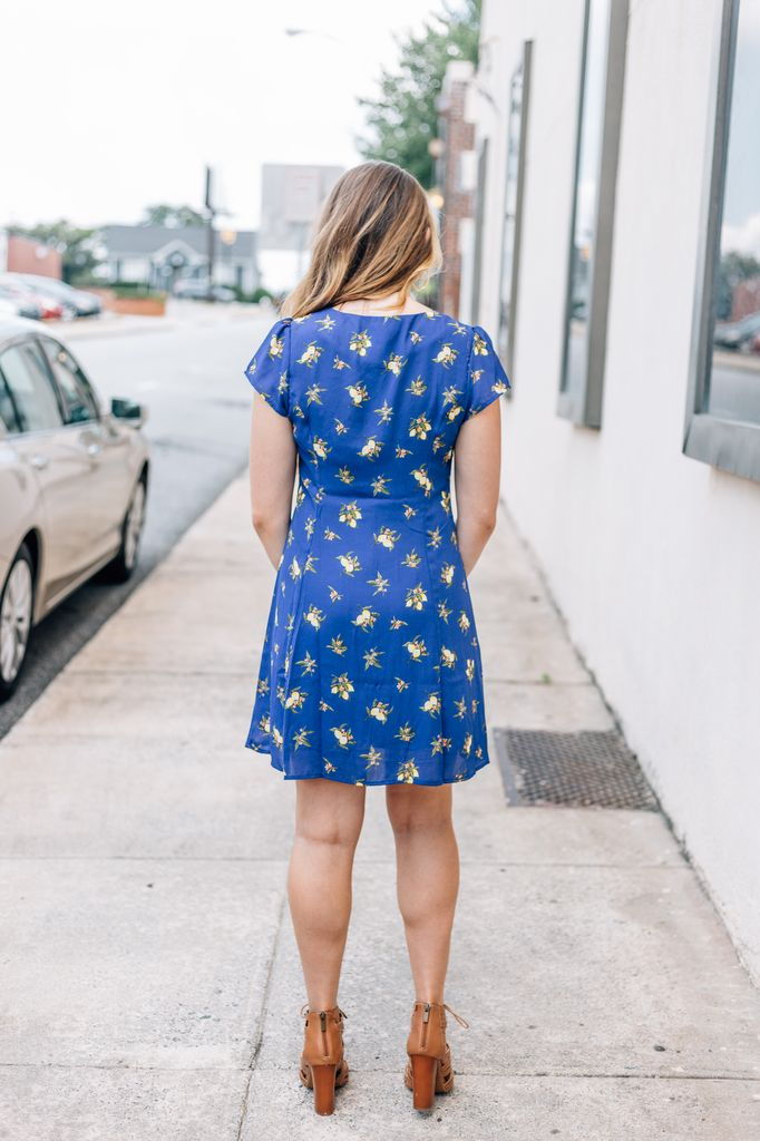 She & Sky Lemon Print Button Down Fit and Flare Dress