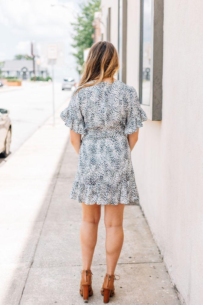 Karlie Leopard Ruffle Sleeve Wrap Dress
