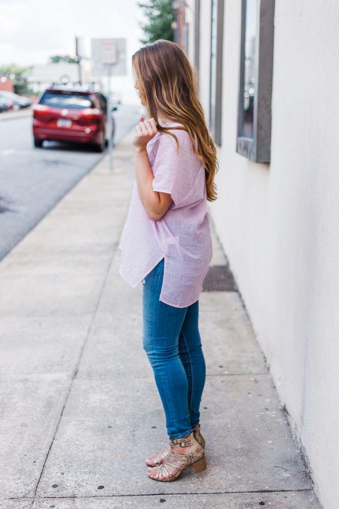 Karlie Solid Italian Gauze V-Neck Tunic