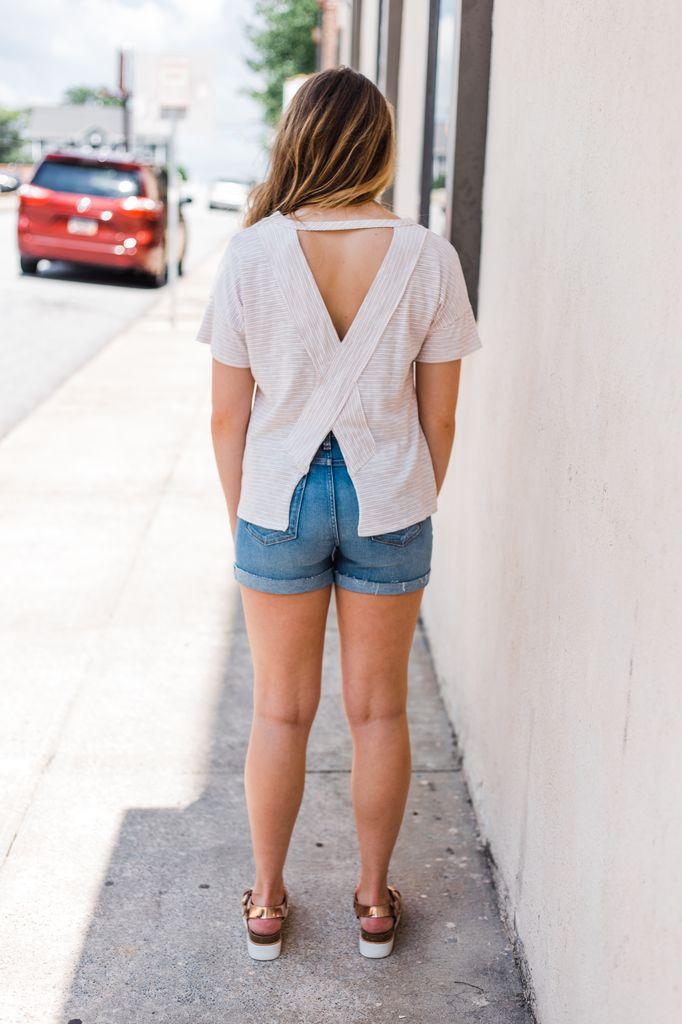 Karlie Stripe Cross Back Knit Top