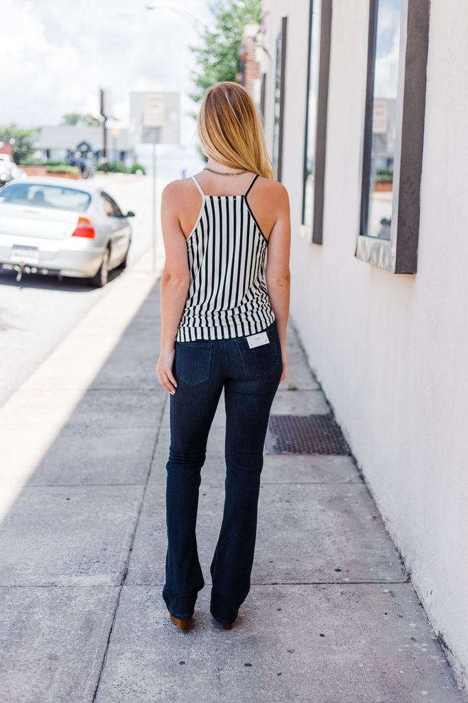 Karlie Striped Button Knot Front Tank