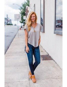 Karlie Solid V-Neck Slub Knit High Low Tunic