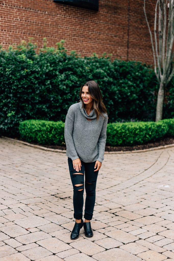 Danae Cutout Cowl Neck Sweater