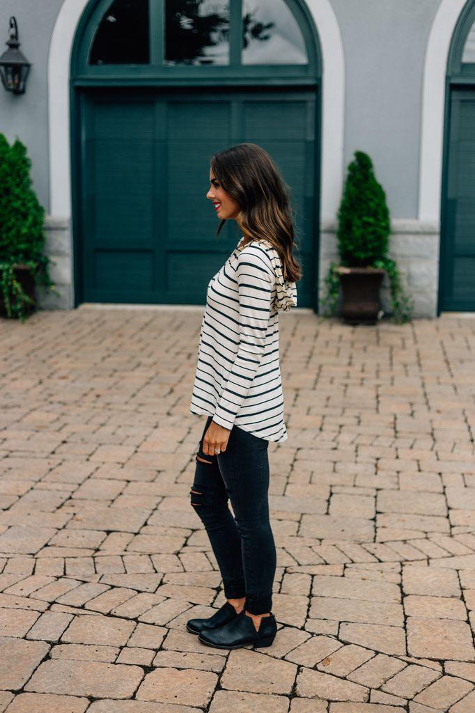 Helena Hooded Striped Long Sleeve Top