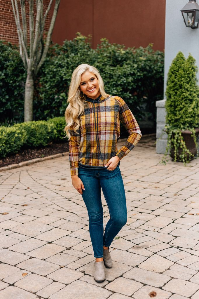 Plaid Double Hoodie Top