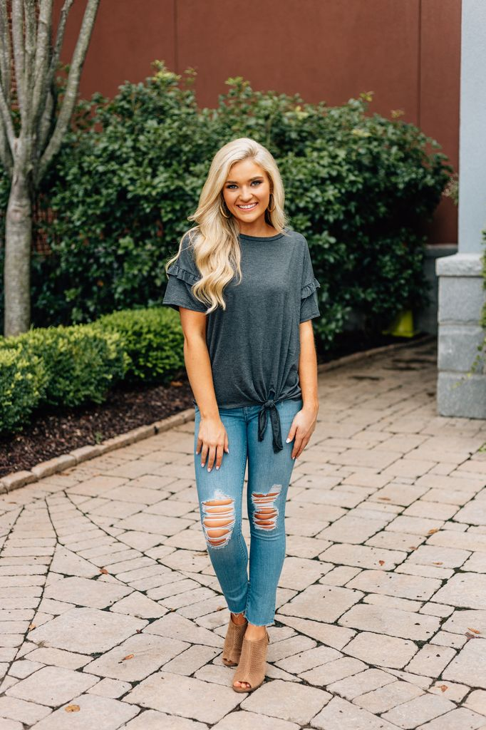 Ruffled Sleeve Knit Top with Knot Waist