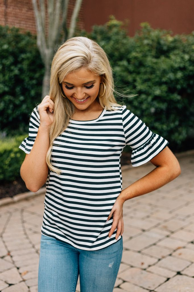 Striped Knit Top with Ruffle Sleeve