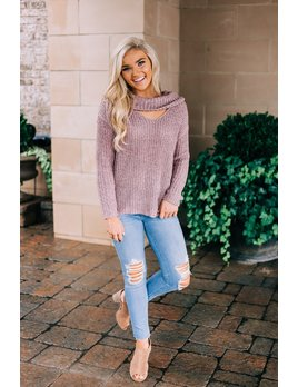 Danae Cutout Cowl Neck Sweater