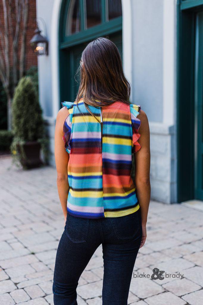 Karlie Multi Crochet Ruffle Sleeve Top