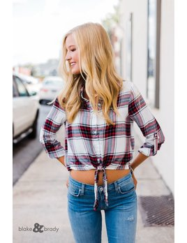 Karlie Plaid Button Knot Top
