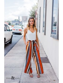 Karlie Multi Stripe Highwaisted Tie Pant