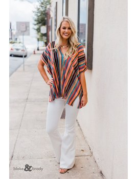 Karlie Stripe V-Neck Tunic