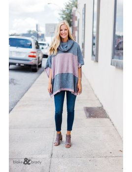 Cowl Neck Puff Hacci Color Block Sweater