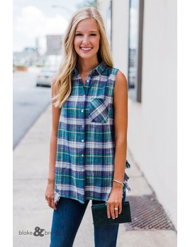 Self Distressed Sleeveless Button Up Top