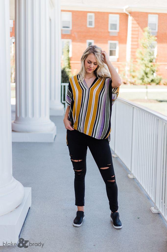 Karlie Stripe V-Neck Tunic
