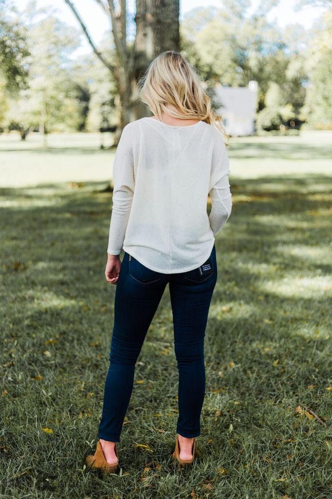 Karlie V-Neck Multi Fleck Sweater Knit Top