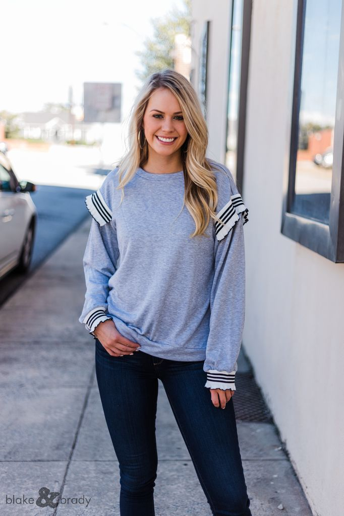 Very J Ruffle Shoulder Sweatshirt