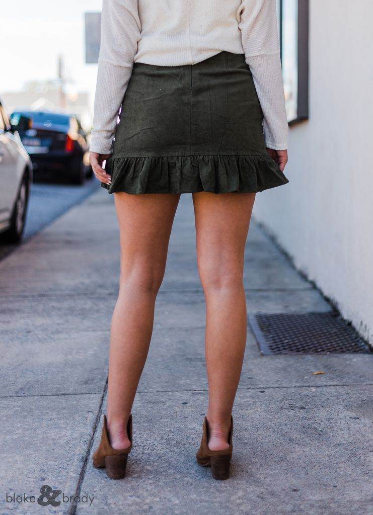 Very J Corduroy Ruffle Hem Skirt