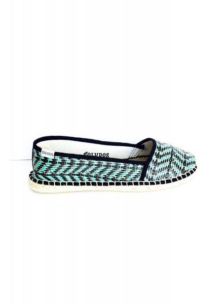 Soludos Solde - Chaussures vert et noir - Neuves - vente finale