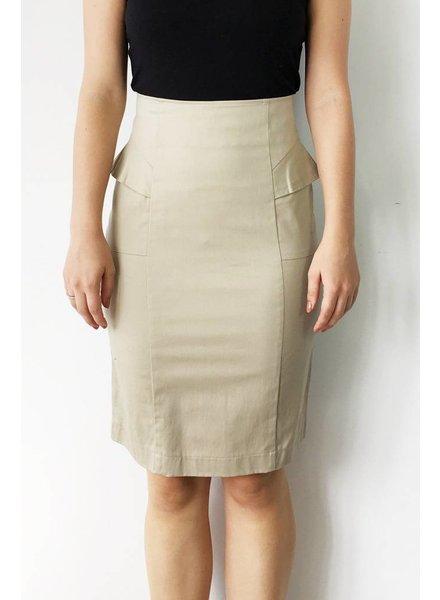 Bodybag SOLDE - JUPE TAILLE HAUTE BEIGE À VOLANTS - NEUVE