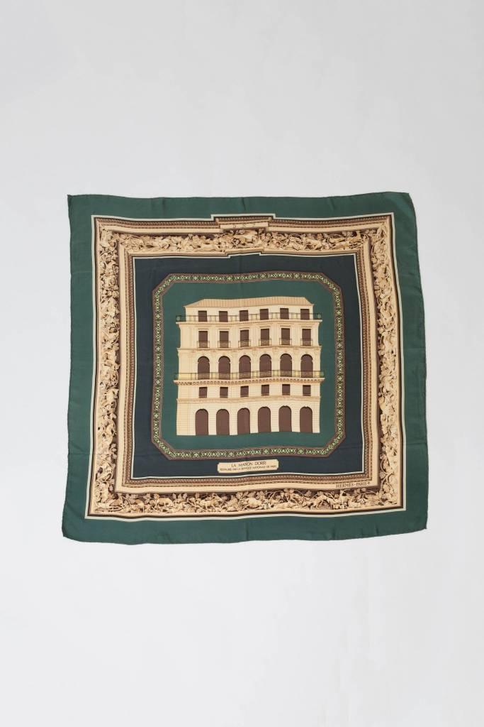 Hermès Carré de soie vert forêt