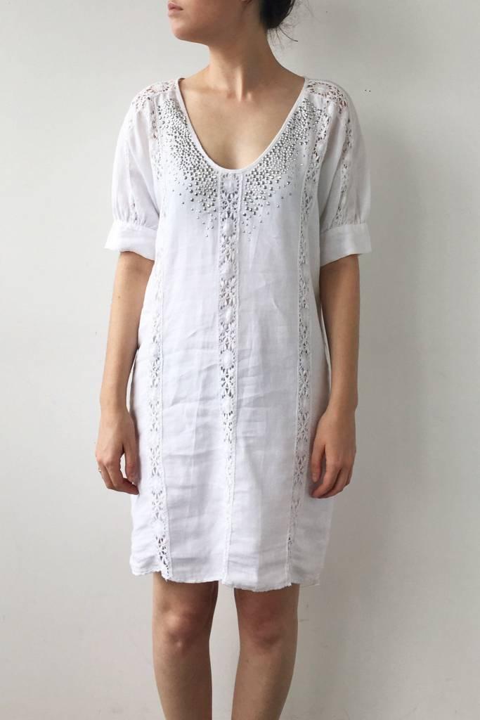 Robe blanche en lin paillettes au col graham spencer - Paillette de lin ...