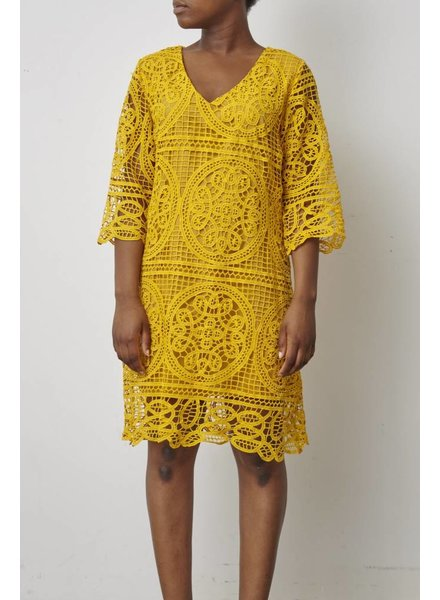 Darling ROBE JAUNE MOUTARDE À BRODERIES - NEUVE