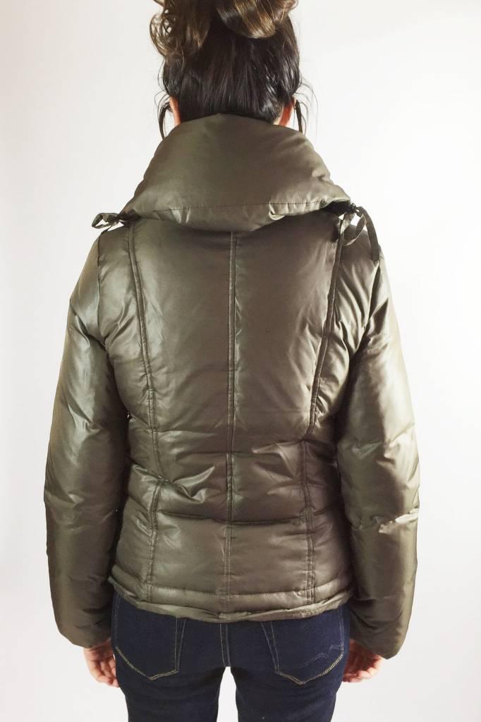 Sisley Solde - Manteau brun gris à col ample