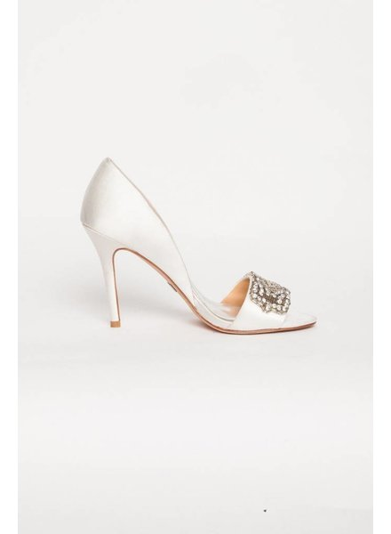 Badgley Mischka ESCARPINS EN SATIN BLANC AVEC ORNEMENTS
