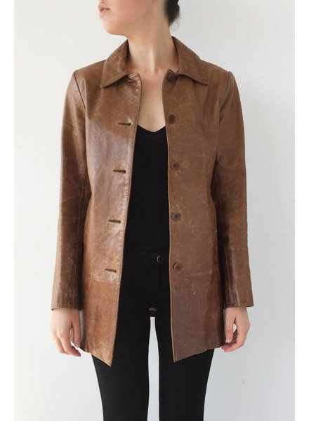 M0851 MANTEAU MI-LONG MARRON EN CUIR