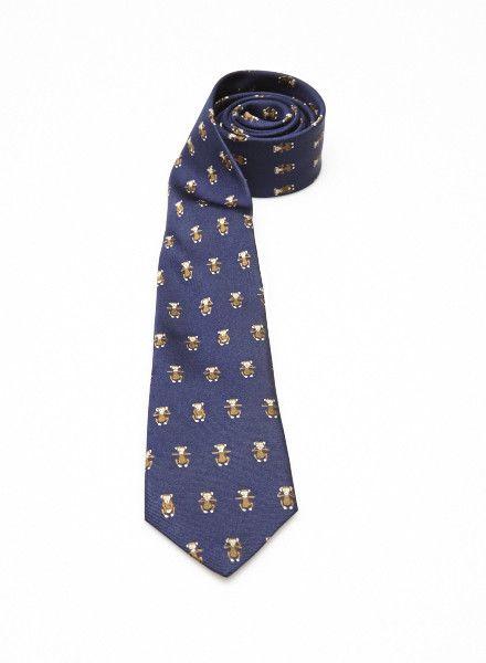 ETON Cravate bleue en soie à petits singes