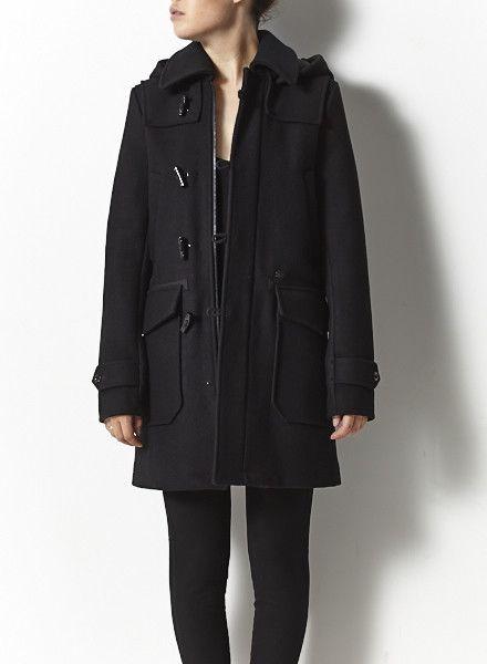 G-Star Manteau de laine noire à capuchon