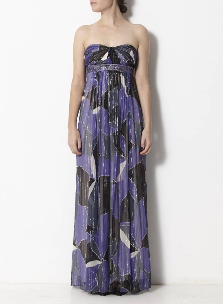 robe violet et noir en soie imprim bcbg max azria deuxi me dition. Black Bedroom Furniture Sets. Home Design Ideas