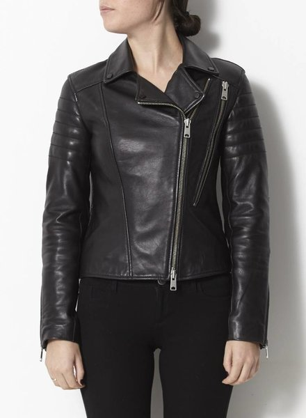 All Saints MANTEAU EN CUIR NOIR