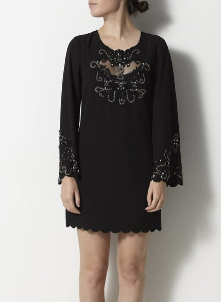 Darling SOLDE - ROBE NOIRE À BRODERIES ORNEMENTS
