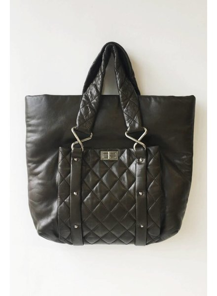 Chanel SAC À MAIN EN CUIR GRIS MARRON