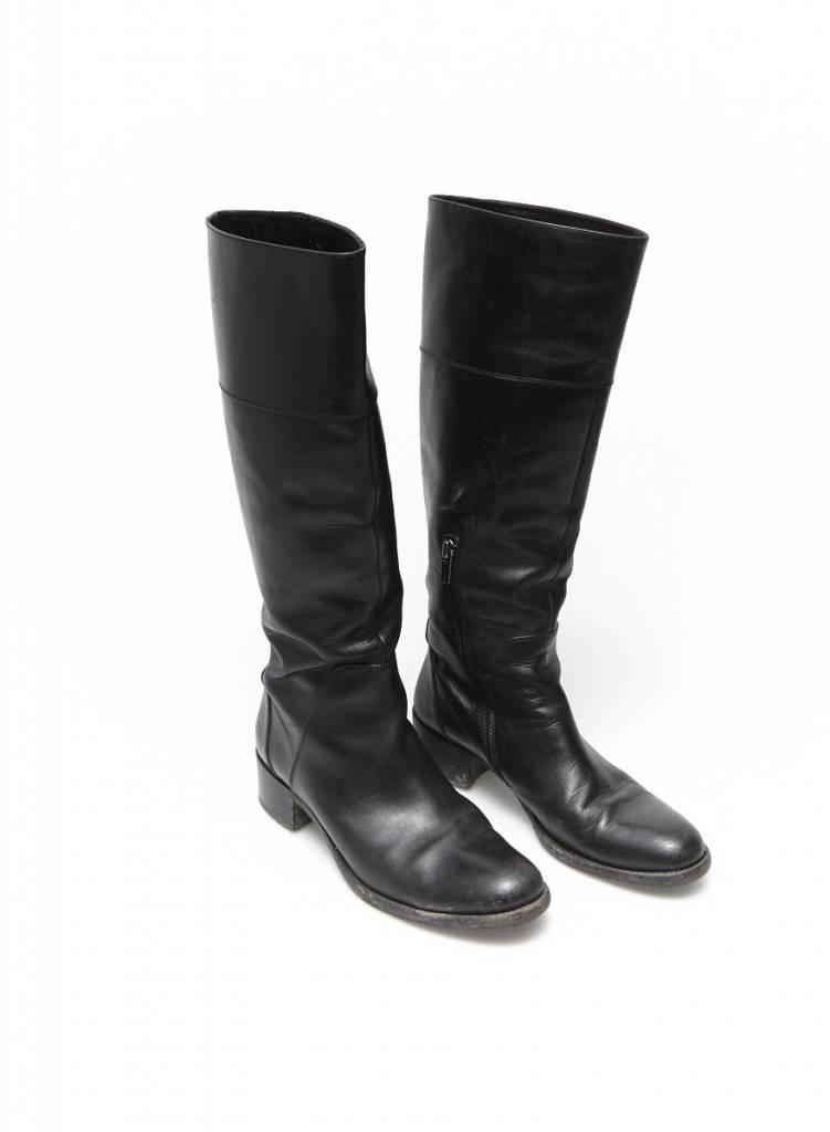 Bottes en cuir noir jil sander deuxi me dition - Verlicht en cuir noir ...