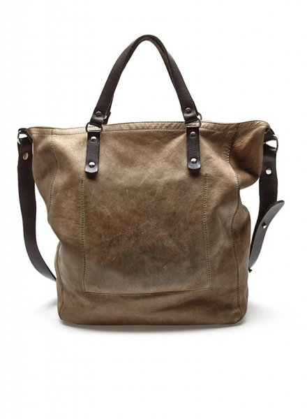 M0851 SAC À MAIN EN CUIR TAUPE À DOUBLE GANSES MARRON