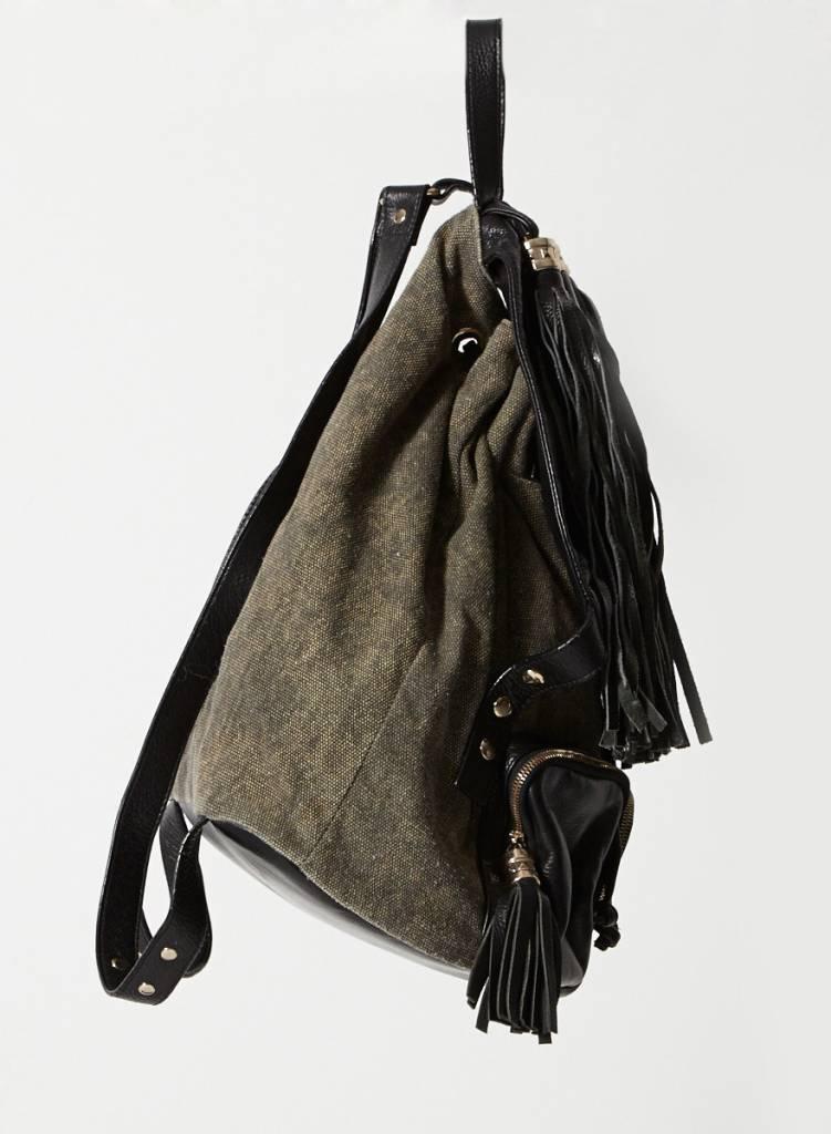 Jeffrey Campbell Sac à dos en canva vert de gris à franges