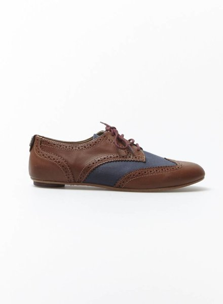"Fred Perry CHAUSSURES STYLE ""OXFORD"" MARRON ET MARINE EN CUIR"