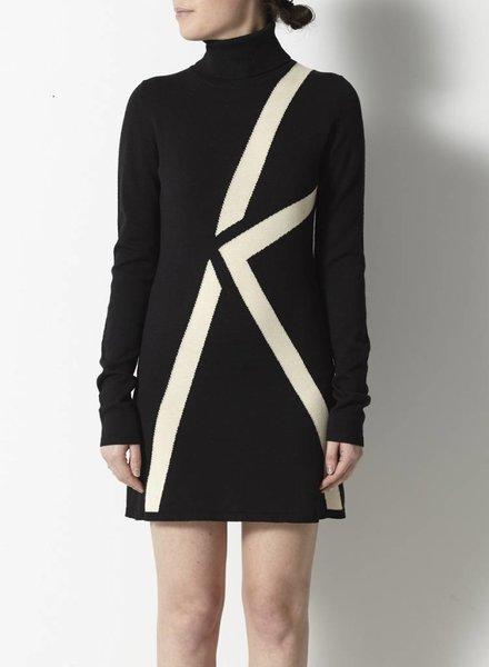 Karl Lagerfeld ROBE NOIRE EN LAINE, SOIE ET CACHEMIRE MOTIF DE K