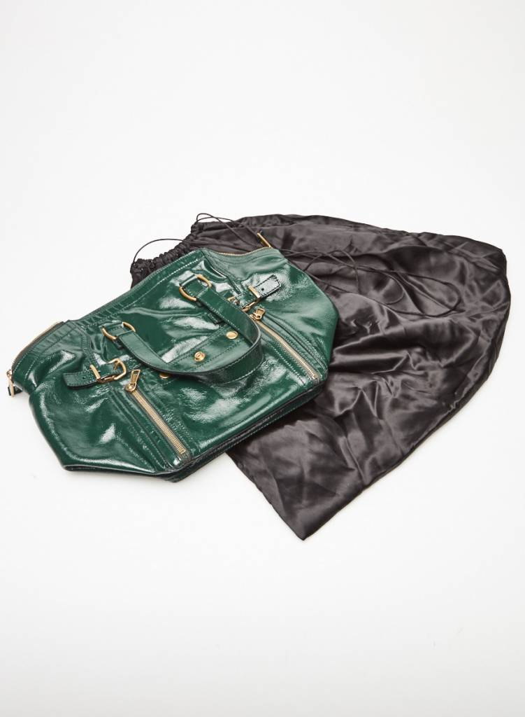 Yves Saint Laurent Rive Gauche Sac à main vert forêt en cuir vernis